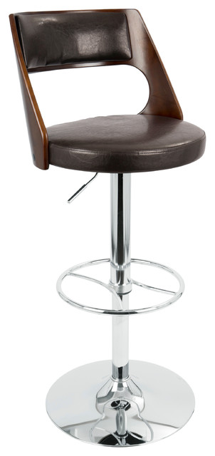 Swell Presta Mid Century Modern Adjustable Barstool With Swivel Cherry And Brown Forskolin Free Trial Chair Design Images Forskolin Free Trialorg