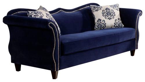 Victoria Fabric Sofa With Nailhead Trim, Royal Blue