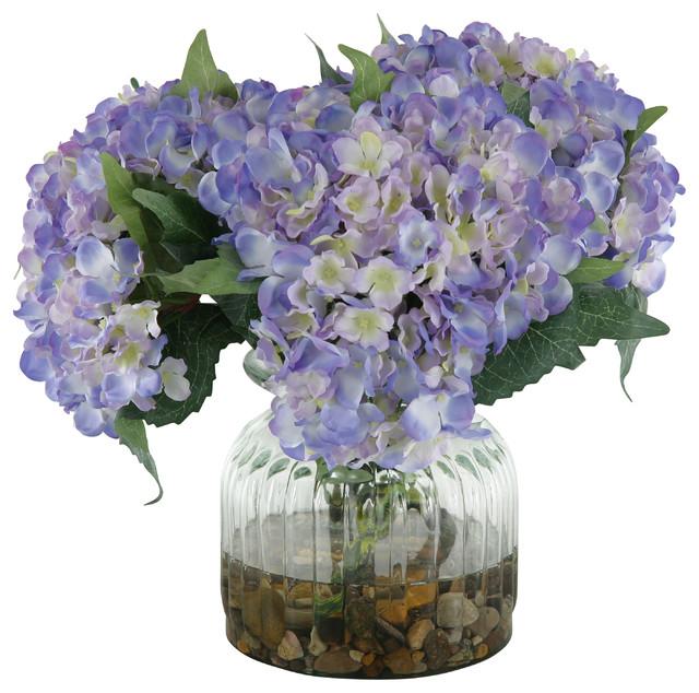 Silk blue hydrangeas in ribbed glass vase traditional artificial silk blue hydrangeas in ribbed glass vase mightylinksfo