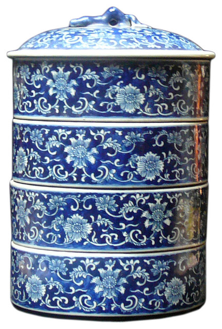 Porcelain Round Shape Blue Amp White Stack Candy Box Asian