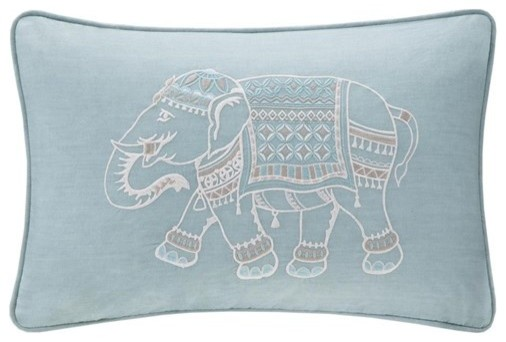 Dec Pillow With Embroidery, Blue.