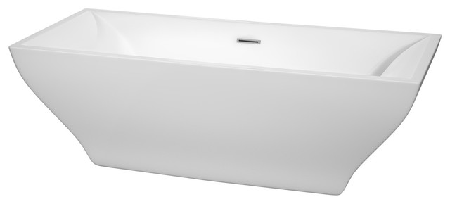 71 Freestanding Bathtub, White With Polished Chrome Drain And Overflow Trim.
