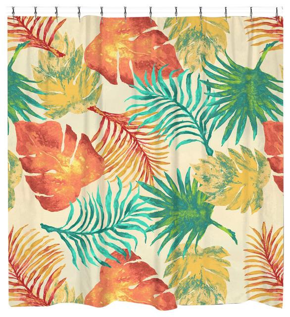 Laural Home Tropical Havana Palm Leaves Shower Curtain