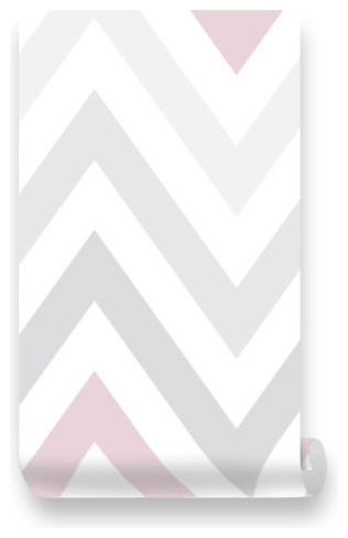 Chevron Pink Grey Removable Wallpaper L Stick Repositionable Fabric Transitional By Blue Baby