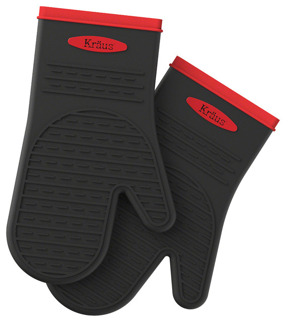 Kraus Heat-Resistant 100% Food-Safe Silicone Non-Slip Oven Mitt Pack of 2