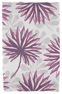 "30x60"" Spike and Stamp, Floral Print Beach Towel, Purple"