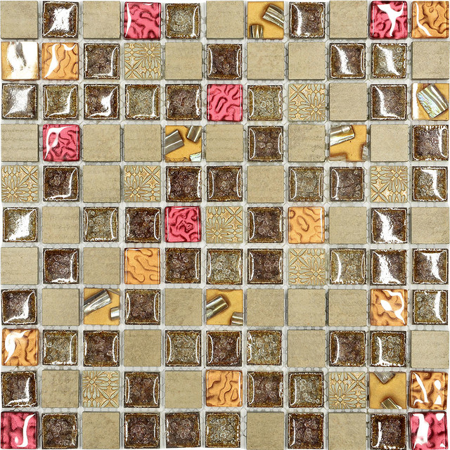 Kitchen Tiles Mosaic burgundy brown gold glass mosaic kitchen backsplash tile