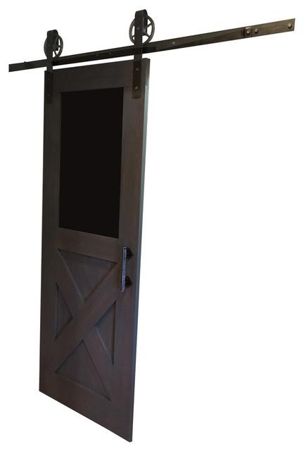 Farmhouse chalkboard design sliding barn door rustic for Farmhouse sliding door