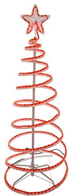 6 red led lighted outdoor spiral rope light christmas tree yard art decoration contemporary - Led Outdoor Christmas Tree