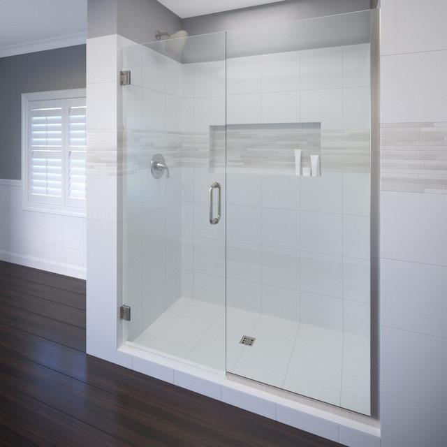 "Celesta Shower Door, Fits 57-58"", AquaGlideXP Clear Glass, Brushed Nickel"