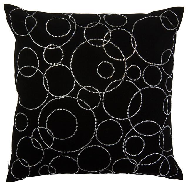 Shop Houzz SIVAANA Swarovski Crystal and Suede Circles Pillow, Black - Decorative Pillows