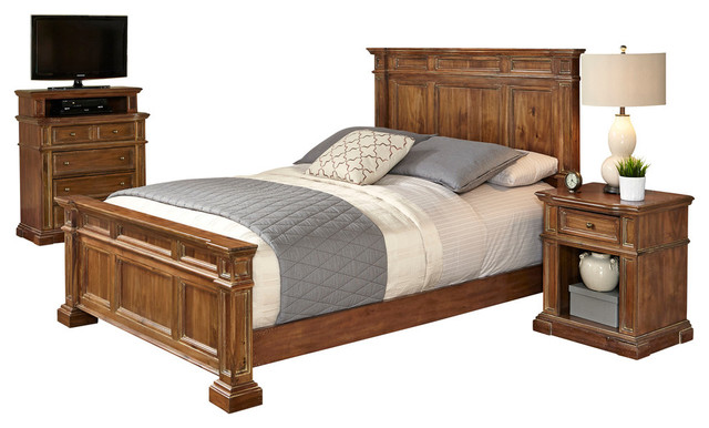 Http Www Houzz Com Photos 28641133 Americana Vintage Queen Bed Night Stand And Media Chest Traditional Bedroom Furniture Sets