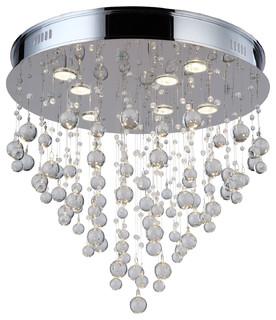 Light Flush Mount Light Chrome Finish With Clear Murano Glass