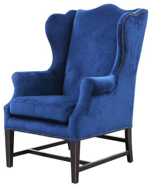 Gracie Art Deco Royal Blue Velvet Classic Wing Chair Kathy Kuo Home