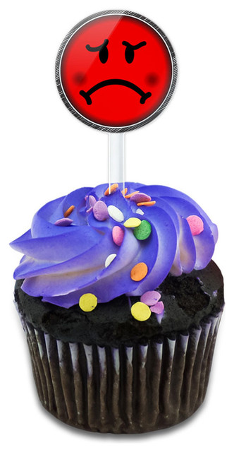 Angry Mad Face Red Cupcake Toppers Picks Set.