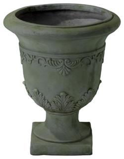 Floriana Antique Gray Moss Stone Planter