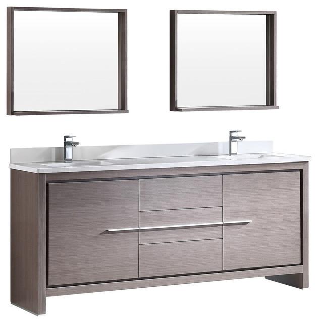 Fresca Allier Gray Oak Modern Double Sink Bathroom Vanity Modern Bathroom