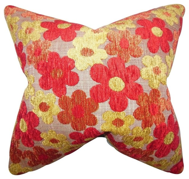 The Pillow Collection - Parvaiz Floral Pillow Red & Reviews Houzz