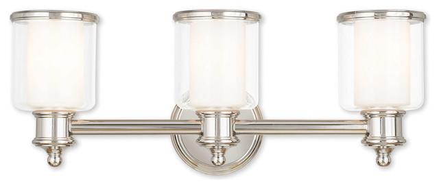 Middlebush 3-Light Bathroom Vanity Lights, Polished Nickel.