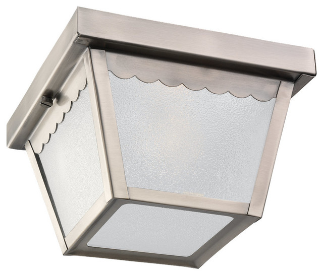 1-Light Outdoor Ceiling Flush Mount, Antique Brushed Nickel.