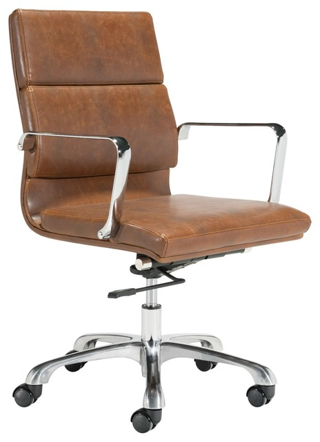Modern Contemporary Vintage Style Work Home Office Chair Brown Faux Leather Contemporary Office Chairs By House Bound