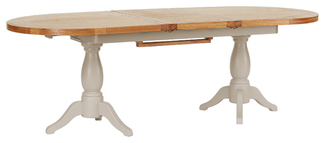 Natural Wood Twin Pedestal Extendable Dining Table, Putty