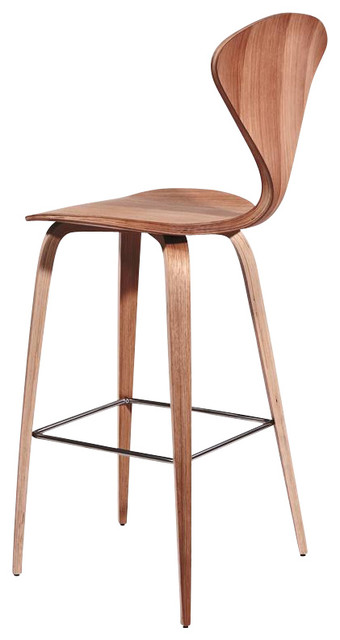 Admirable Satine American Walnut Bar Stool In Walnut Finish Inzonedesignstudio Interior Chair Design Inzonedesignstudiocom