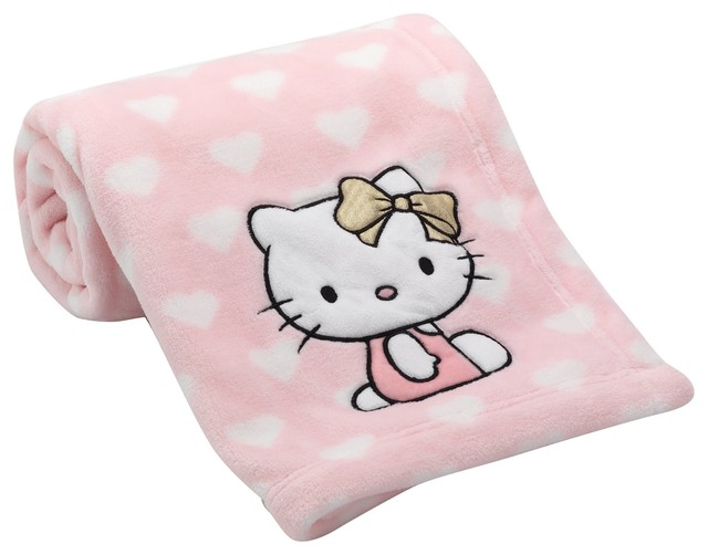 Hello kitty blanket by lambs & ivy pink white hearts animals