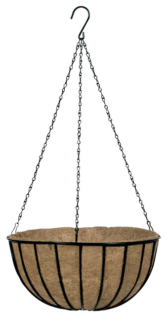 Black Traditional Hanging Basket And Liner.