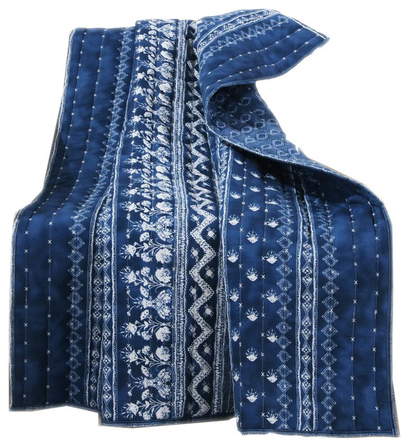 Barefoot Bungalow Embry Indigo Quilted Throw