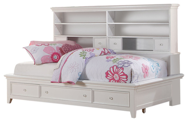lacey storage daybed white full transitional kids beds by acme furniture. Black Bedroom Furniture Sets. Home Design Ideas