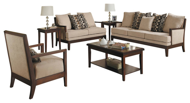 Homelegance Dalton 3 Piece Microfiber Living Room Set With Show Wood