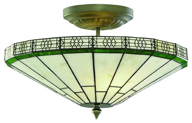 New York Art Deco Style Tiffany 2-Light Semi Flush Light