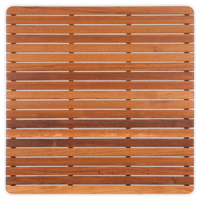 plantation teak mat with rounded corners modern bath. Black Bedroom Furniture Sets. Home Design Ideas