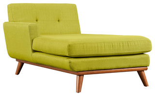 Modern Contemporary Left-Arm Chaise , Green, Fabric
