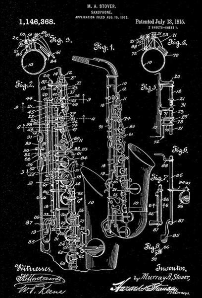Saxophone Instrument Musical Music 1949 Decoration Vintage Poster Repro FREE SH
