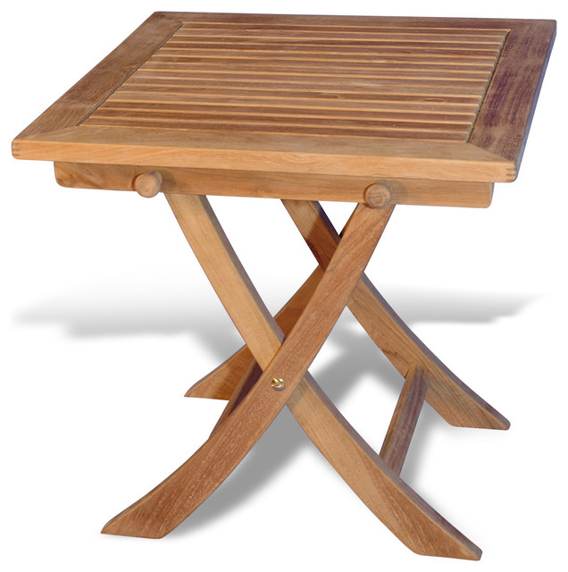 Teak Side Square Folding Table Rustic Outdoor Side