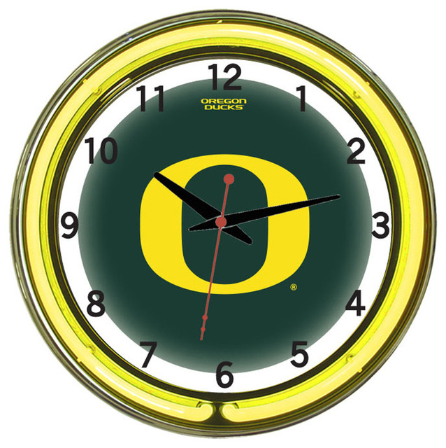 Wall Clocks With Neon Lights : Oregon Ducks 18 Wall Clock With Neon Lights - Traditional - Wall Clocks - by Team Sports
