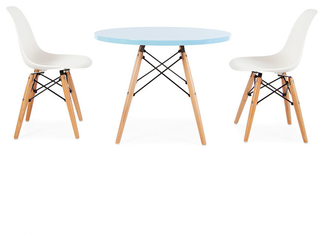 Mid Century Retro Kids Round Blue Table 2 Kids DSW Chairs – Vintage Kids Table and Chairs