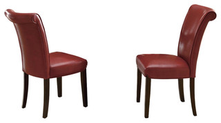 Leather-Look Dining Chairs, Set of 2, Burgundy