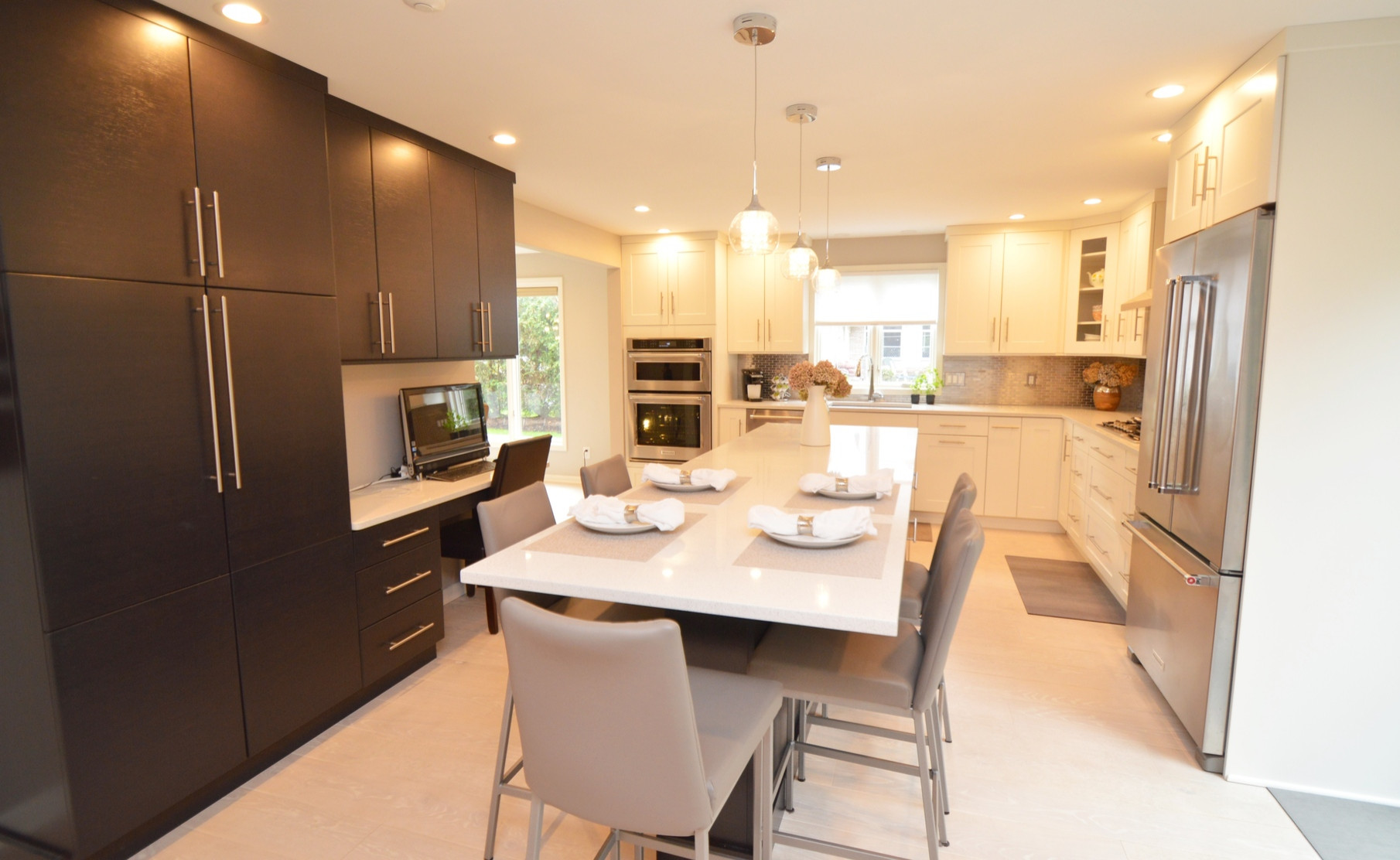 White & Charcoal Bamboo Kitchen Craft Kitchen and Dining Room