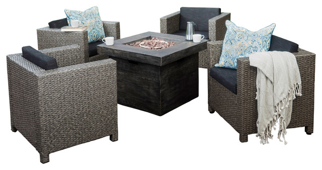 Livingston Outdoor 4-Piece Fire Pit Chat Set, Gray.
