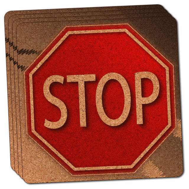 Stop Sign Stylized Red Grey Thin Cork Coaster Set of 4