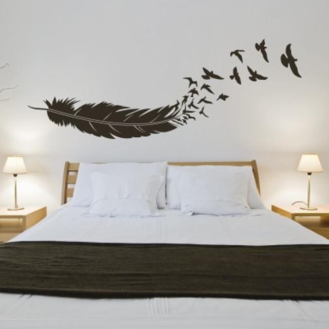 Adesivi murali uccelli in volo dalla piuma moderno for Adesivi per pareti