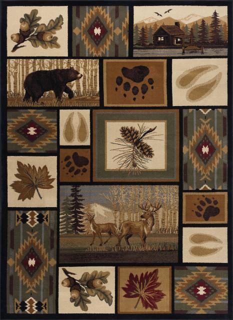 Northern Wildlife Novelty Lodge Multi Rectangle Area Rug, 9' x 12'