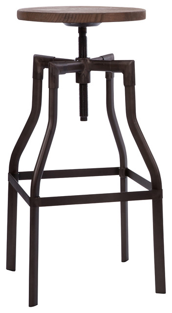 Beau Machinist Rustic + Wood Seat Adjustable Barstool ...