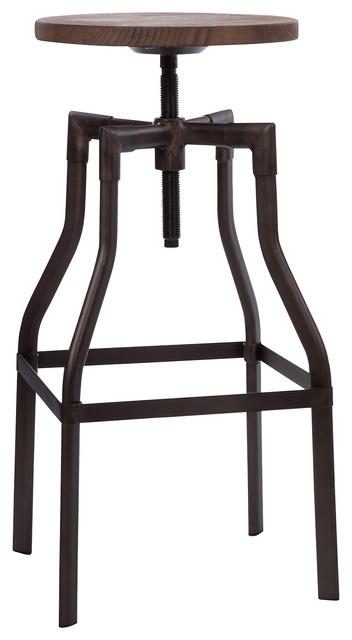Machinist Rustic + Wood Seat Adjustable Barstool 26 -32  industrial-bar-  sc 1 st  Houzz & Machinist Rustic + Wood Seat Adjustable Barstool 26