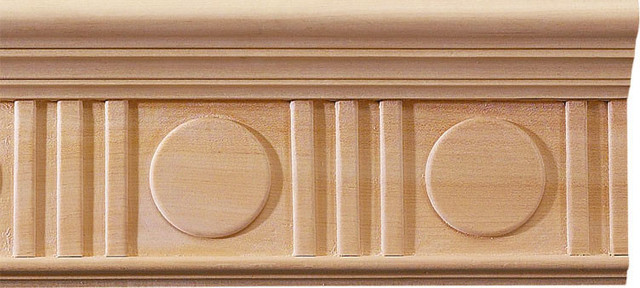 Deco Carved Crown Molding Cherry Wood Traditional