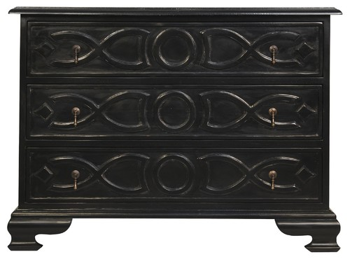 40 Long Chest Dresser Solid Mahogany Wood Rubbed Black Finish 3 drawer Modern