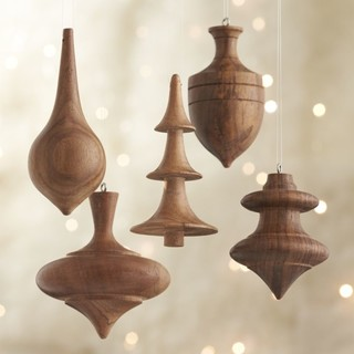 Set of Turned Wood Ornaments traditional-christmas-ornaments